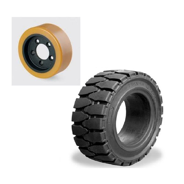 So sánh bánh xe nâng điện cao su và bánh xe nâng điện bằng nhựa PU