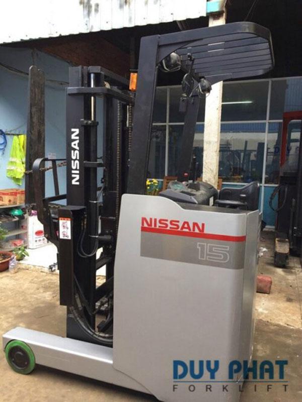 Xe Nâng Điện đứng lái cũ Nissan nâng cao 4 mét, tải trọng 1.5 tấn