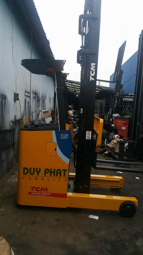Xe Nâng Điện TCM 1.5 tấn, nâng cao 5 mét, đứng lái